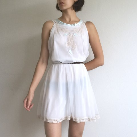 084a192617b7 An angelic white layered shift dress with gorgeous mint and - Depop