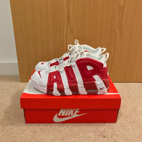 00bcf8847f41 Nike Air More Uptempo ( White   Gym Red) size US 8.5   UK to - Depop
