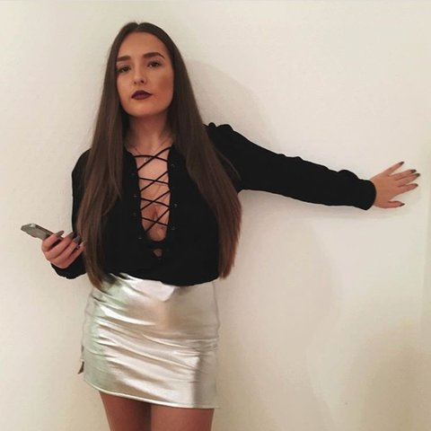 Topshop Kendall and kylie Jenner real leather silver mini as - Depop 22d4cf54d