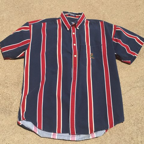 22e9b11b26fe5f @deathzest. 11 months ago. Waxahachie, United States. Vintage Chaps Ralph  Lauren blue and red vertical striped short sleeve button up ...