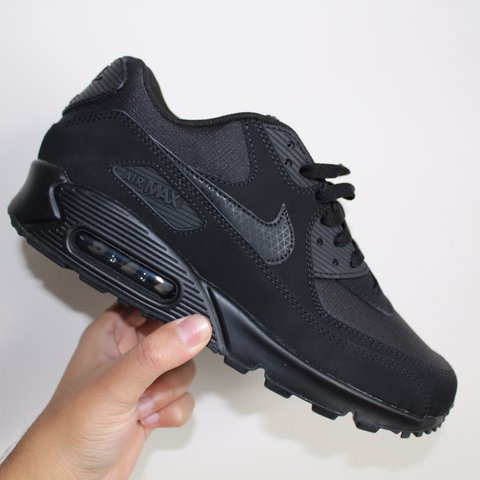 327e81835e ... spain nike air max 90 uk size 8 all black with suede last as depop 1f1ec