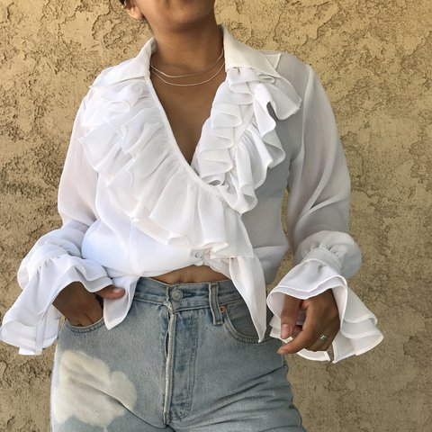 1515bc1bd02ee Total Selena Quintanilla vibes in this white sheer ruffle In - Depop