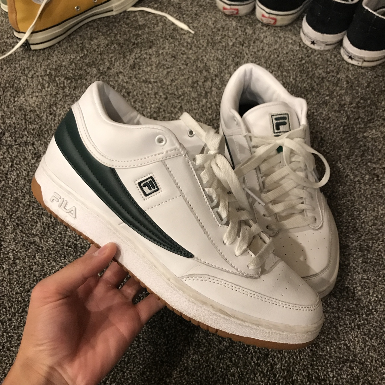 """Fila T1 mid """"forest green"""" love these but they're Depop"""