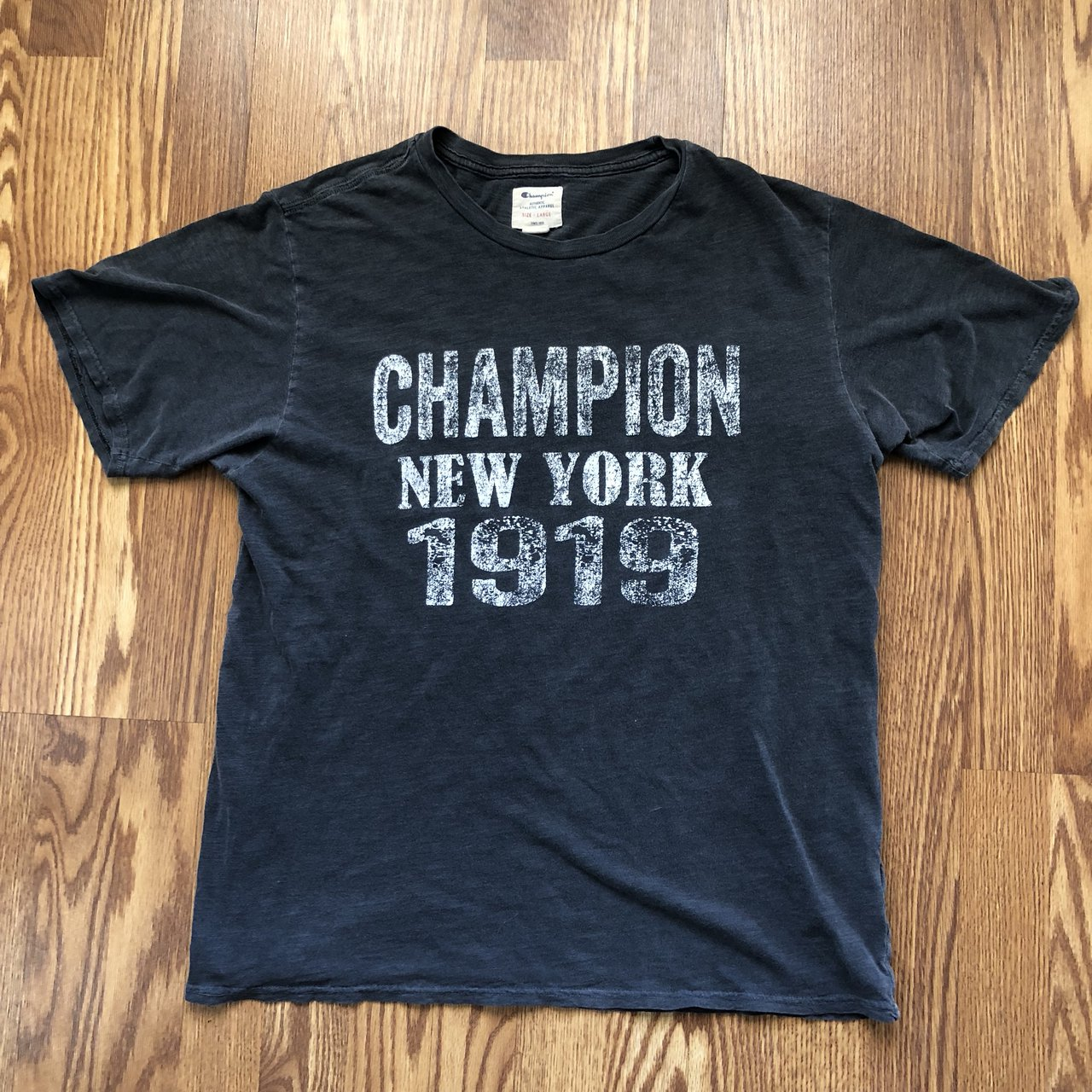 Vintage Champion spellout graphic T shirt. Features New York - Depop b07a891ac0c