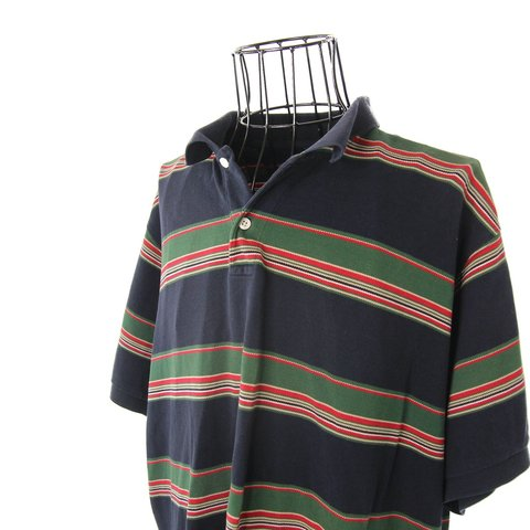 4dcfcf54e @jakofallvintage. 10 months ago. Cedar City, United States. Vintage Chaps Ralph  Lauren striped polo shirt. Awesome Gucci like colorway.