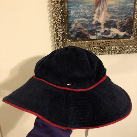 8a2df20c25e Deadstock 2008 Tommy Hilfiger terry cloth bucket hat. Size a - Depop