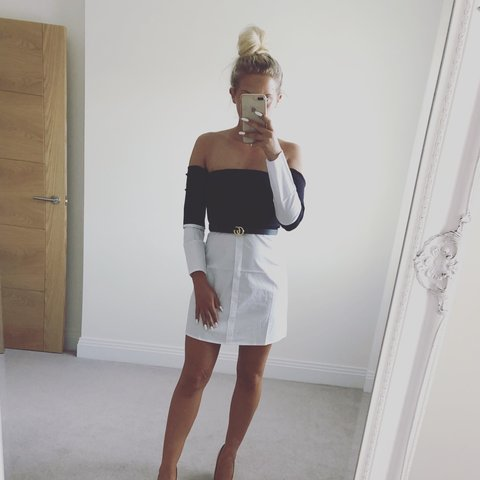 cc76661ccd1 New Black and white shirt Bardot dress Summer  Holiday  cb - Depop