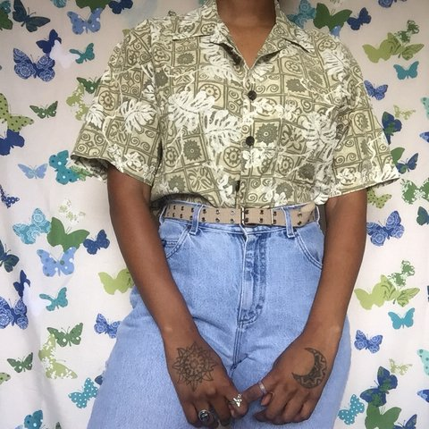 fcee75e024 Green and white tribal floral vacation button down top w m s - Depop