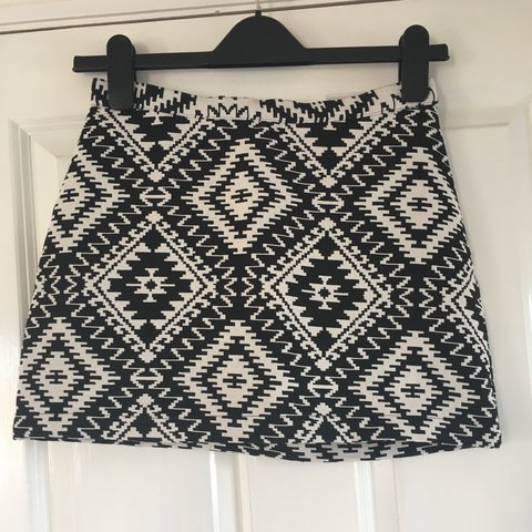 15f0b3d8b5 @livvyfinnie. 2 years ago. Yatton, United Kingdom. Topshop petite black and white  patterned mini skirt, perfect condition size 8