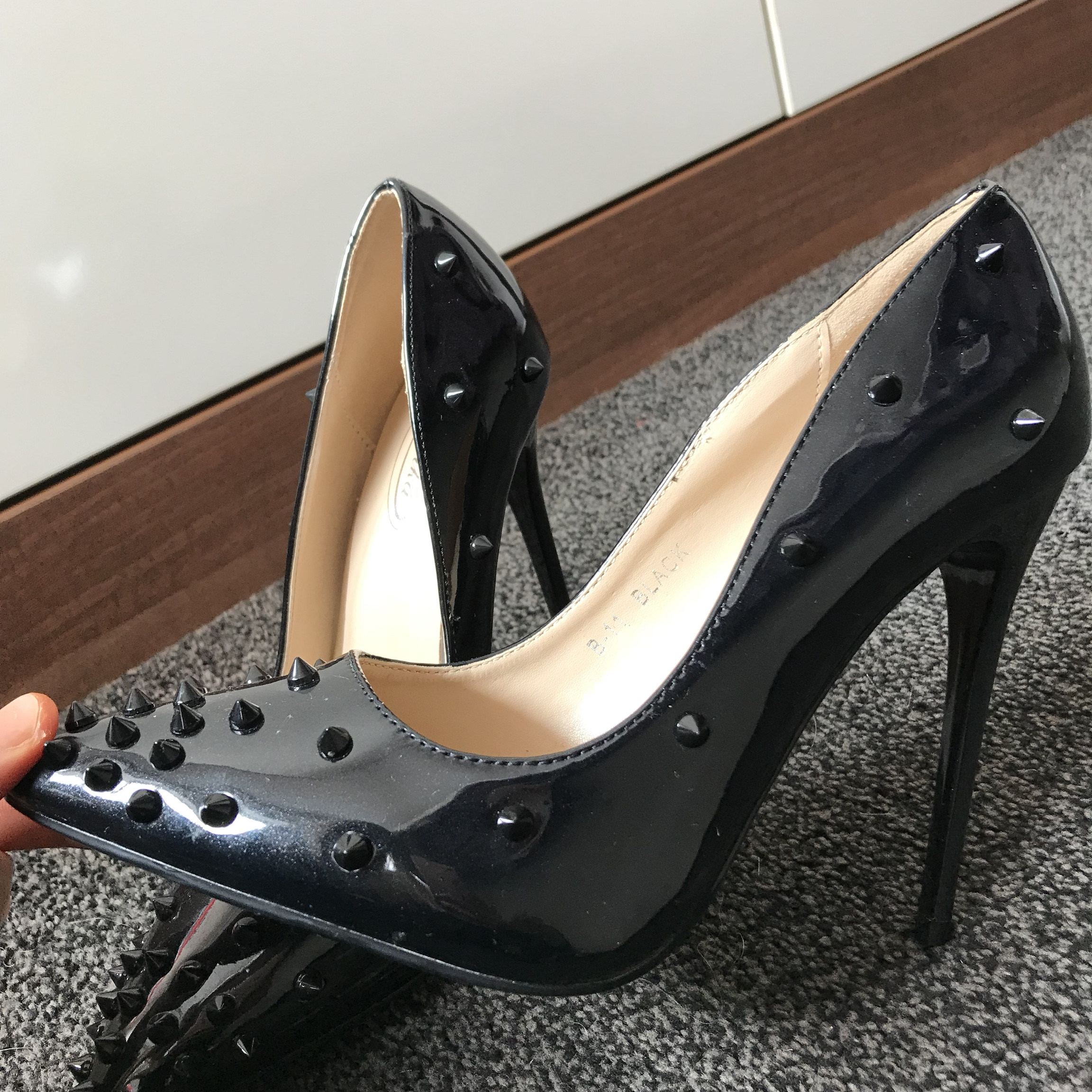 Black studded court shoes, wore once