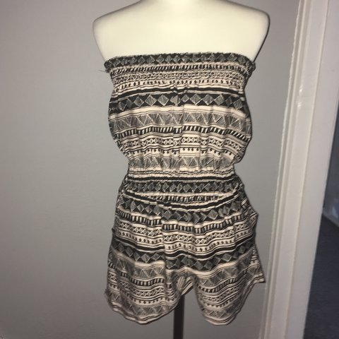 c8f81a109d Strapless beach playsuit Beige and black Aztec pattern UK - Depop