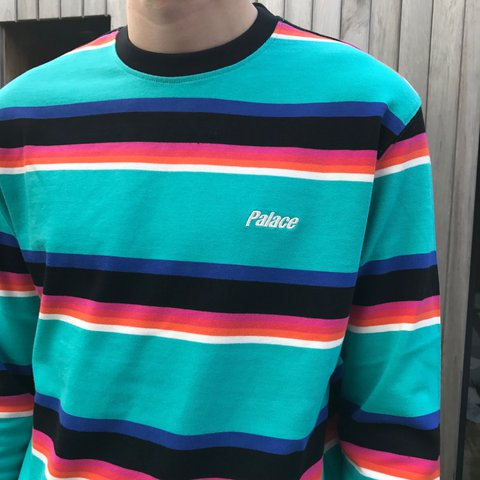 2eae4165f0 Palace Striper 320 Crew Blue Large Brand New with Tags and + - Depop
