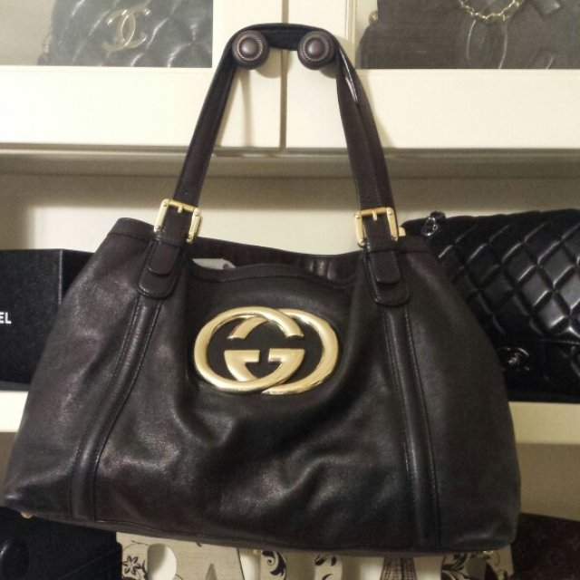 56cdcd1a5846 Black Gucci tote bag. Bought at the gucci store at fashion - Depop