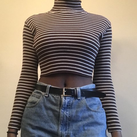 31bc8f1478f 💗 Cute Vintage Brown and White Striped Turtleneck Crop Top - Depop