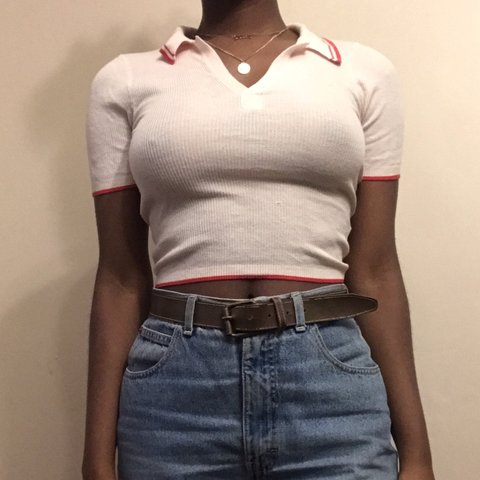 b0017742674 @cinnamonjones. 7 months ago. Philadelphia, United States. 🍡 adorable light  pink collared crop top with red ...