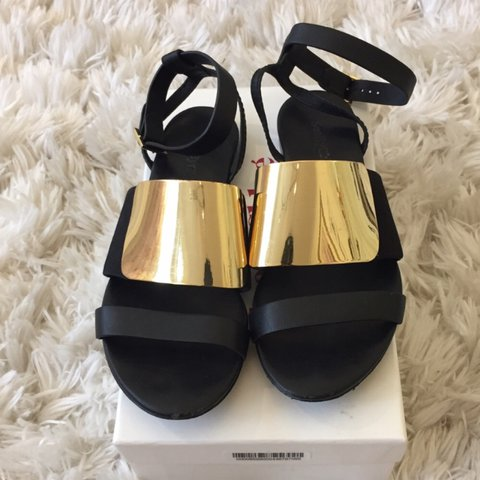 201dea796750 See by Chloé Metal Vamp Sandal. Black leather sandal with on - Depop