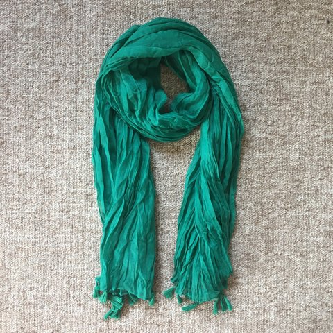 b9002a5560ed4 Lush emerald green scarf with tassel ends. Never worn, for - Depop