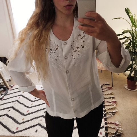 38358634af Vintage shirt with stunning embroidery and cut work