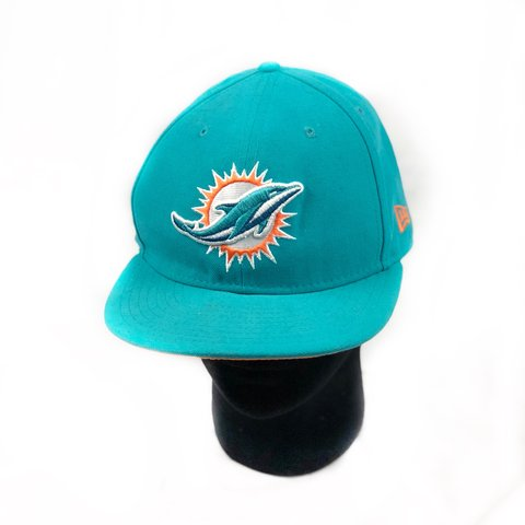 c971087340e New era lake Miami dolphins 🐬 fitted snapback hat size 7 in - Depop