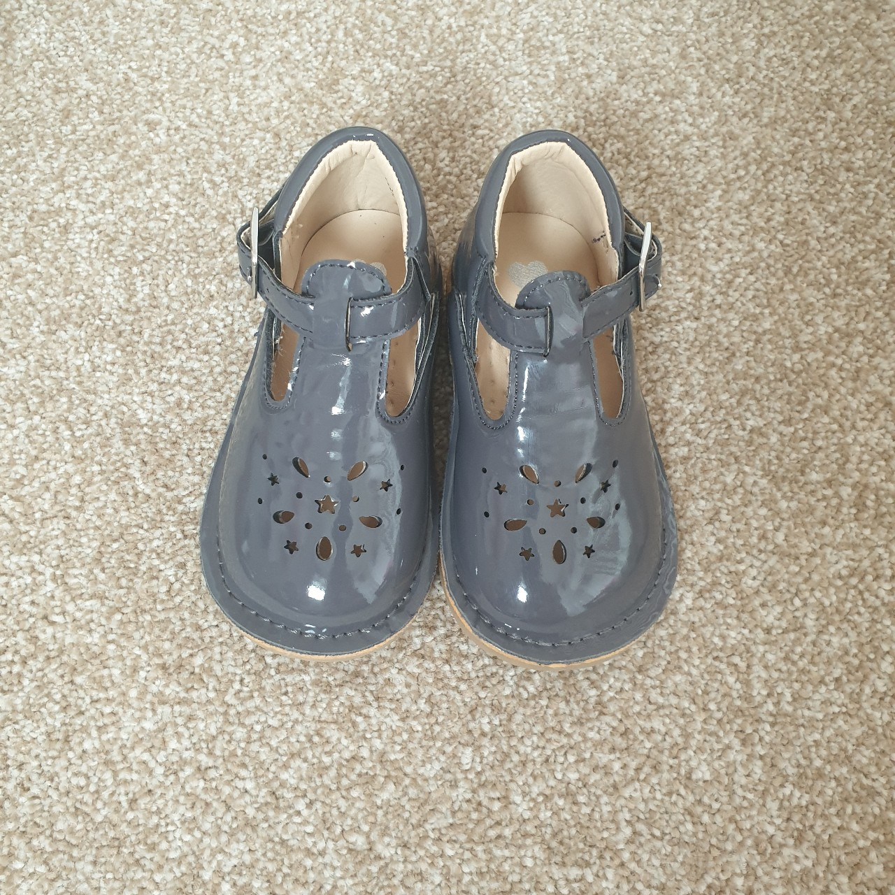 girl spanish t bar shoes in patent grey