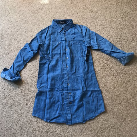 682b24a61a0 @chlorine23. last year. Alameda, United States. BRAND NEW with Tag! XS  Lulus Shirt and Sweet Blue Chambray Shirt Dress
