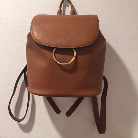 b6aa10a443 brown faux leather mini backpack from forever21. it s pretty - Depop