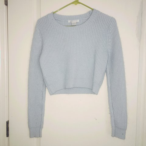 So Soft Light Blue Crop Sweater Size Small The Material Depop