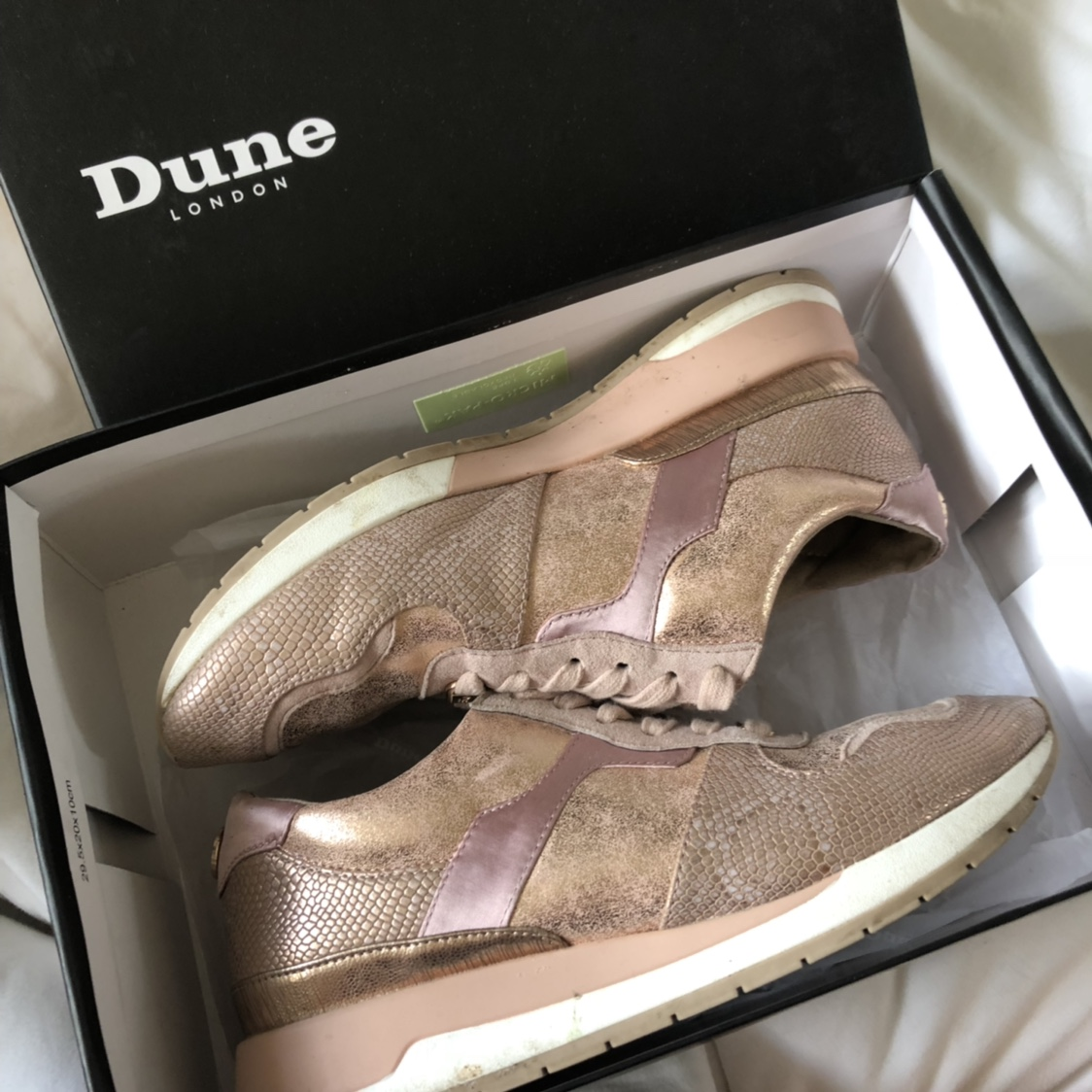 Rose gold DUNE LONDON trainers size 4