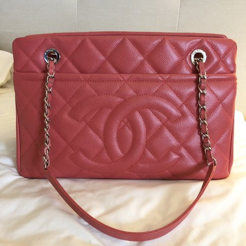 eb8ba831e4b8 Authentic Chanel Timeless Soft Tote Coral quilted Caviar CC - Depop