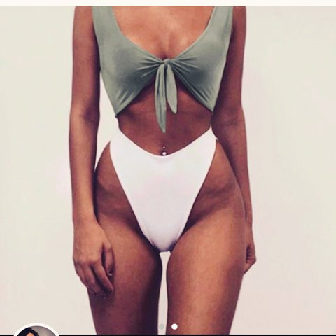 207ee8caef7fc Ohpolly forget me knot tie front high leg bikini in Khaki S