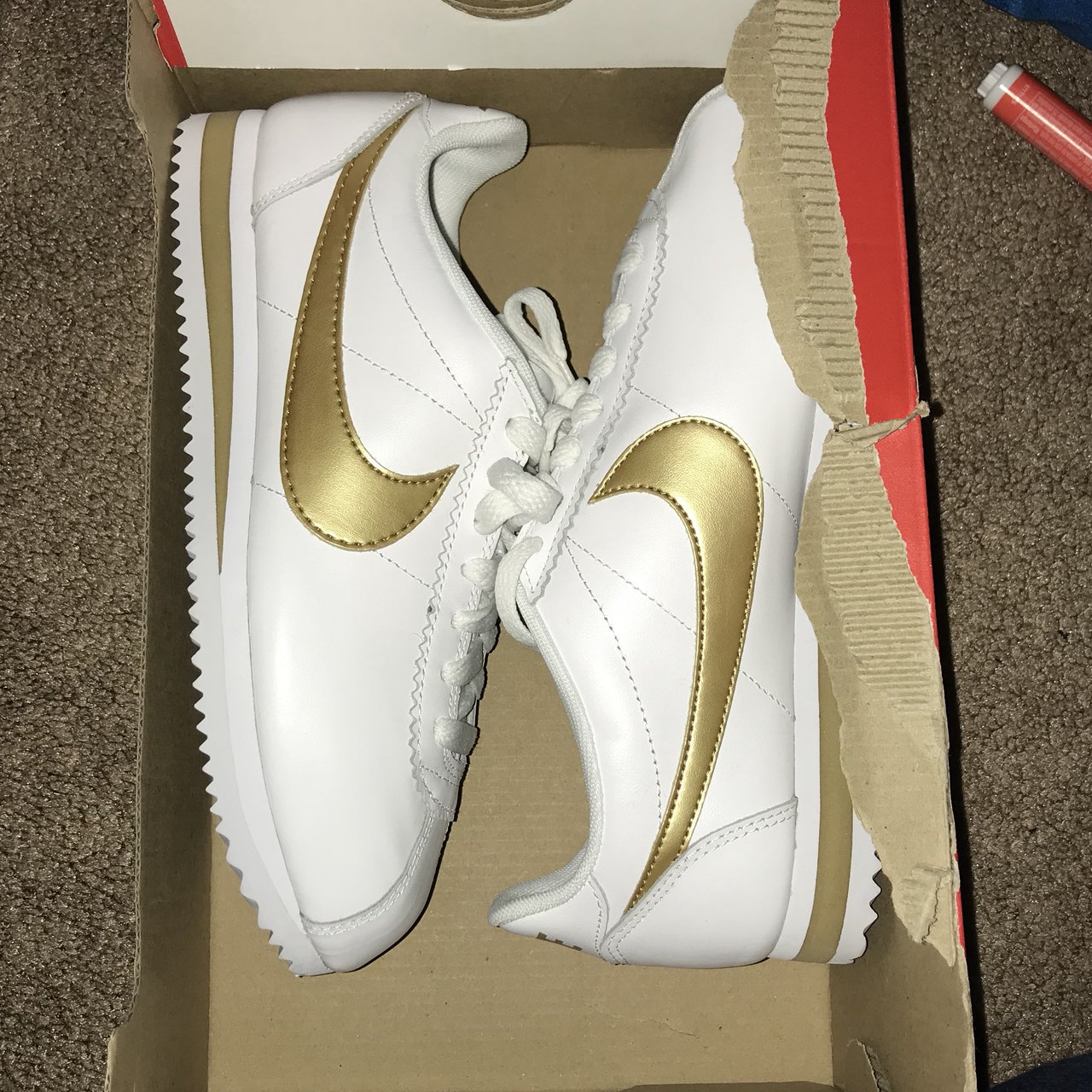 cfd00fbb3a0e Nike Cortez - White and Gold 💛☁ Women s Size 6.5 NEVER w  - Depop
