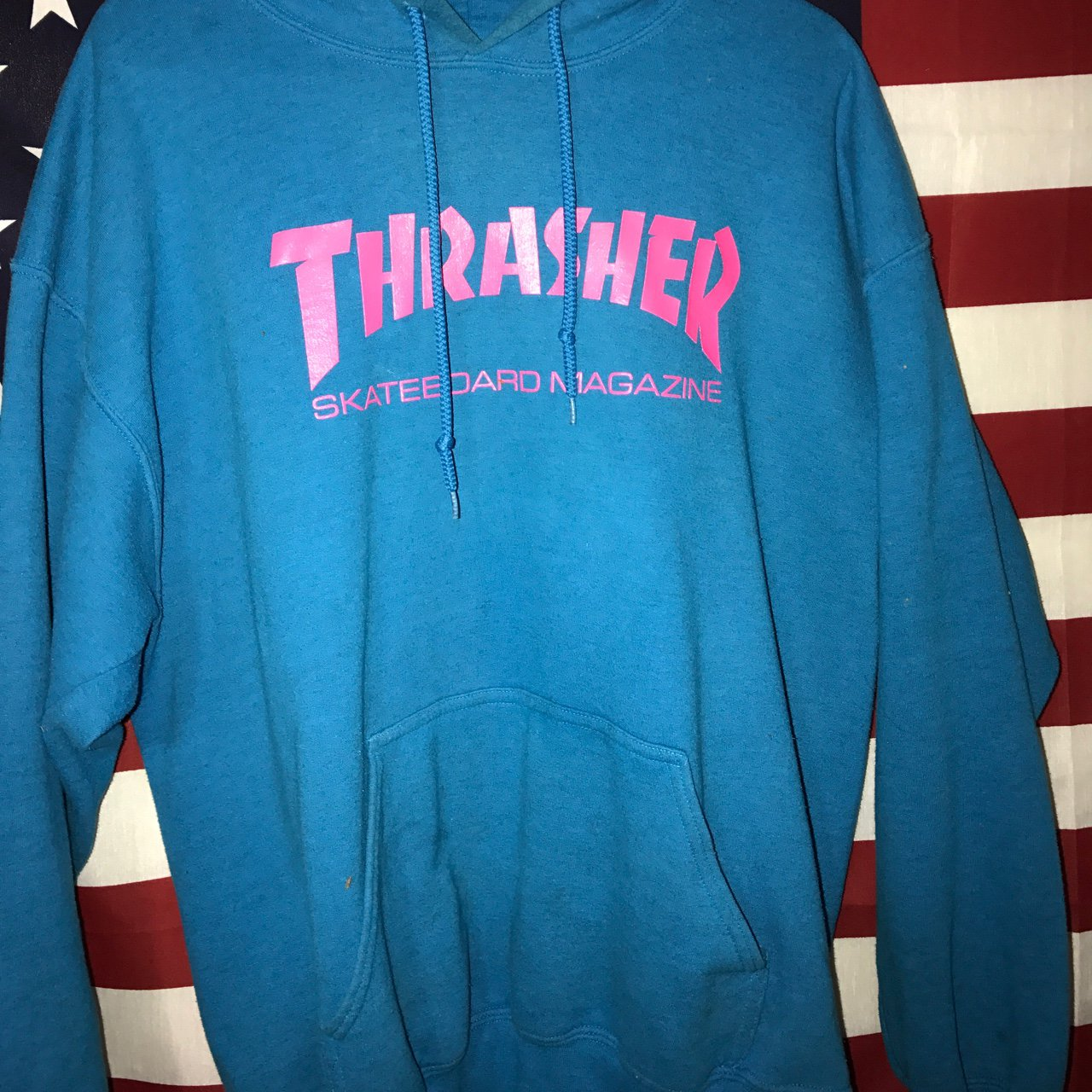 3337bb0559f0 Authentic RARE blue and pink thrasher hoodie. Slightly worn. - Depop