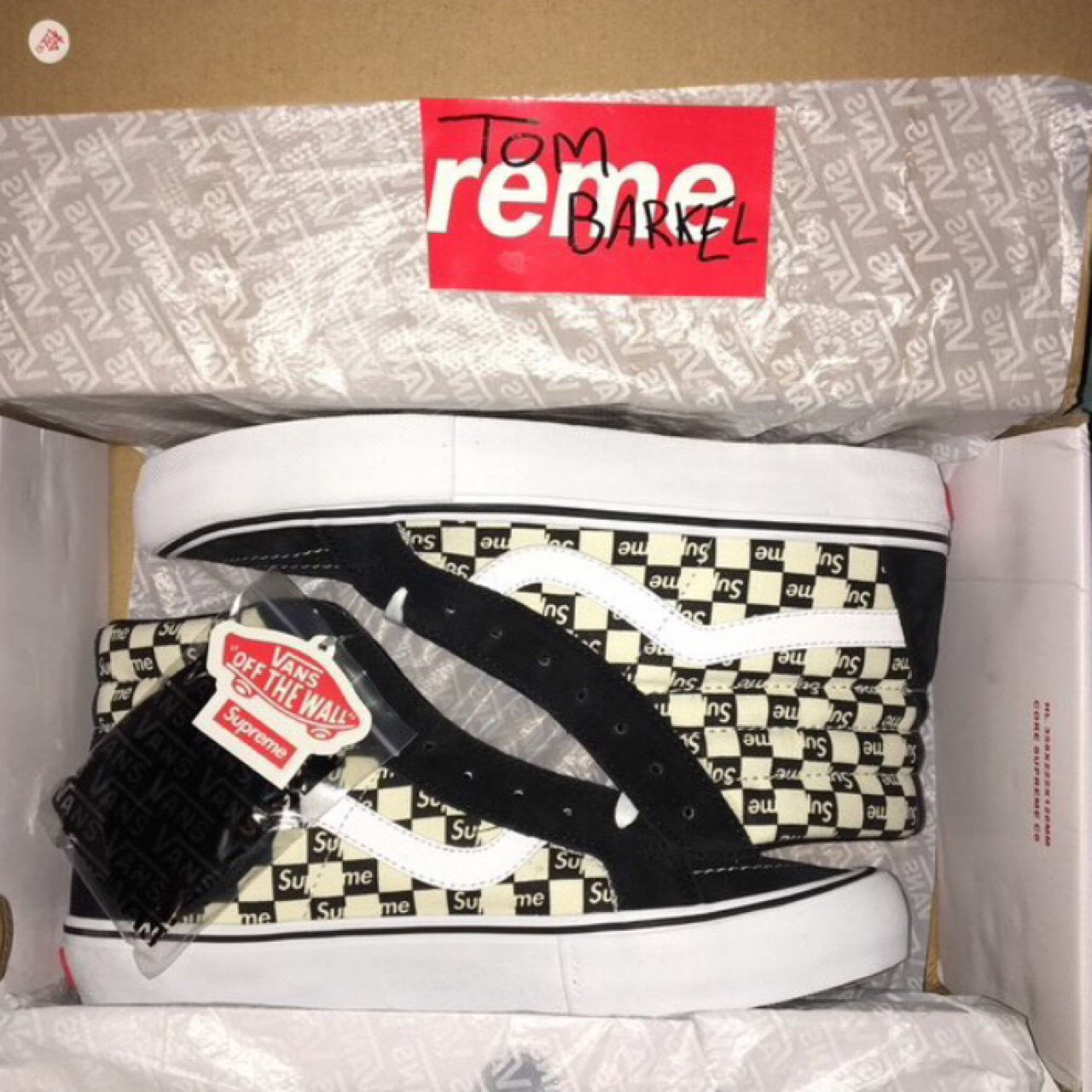 825a7863b6 Supreme X Vans Sk8 hi high checkered black white cream DSWT - Depop