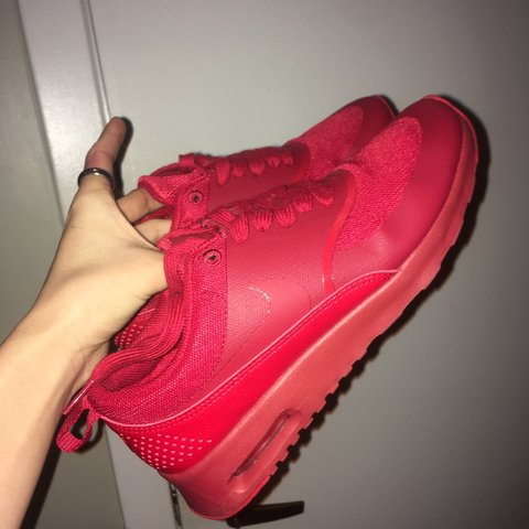 7c17a1fa693 All red Nike air max Thea s women s size 6.5-7 Amazon - Depop