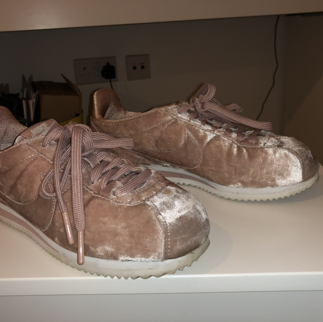 new style 67e4b 71a9b SELLING VELVET BABY PINK NIKE CORTEZ TRAINERS ...