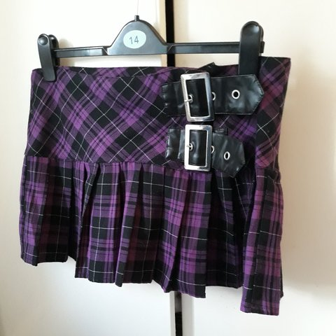 9e5a814350 Pleated purple tartan mini skirt by Hell Bunny. Absolutely a - Depop