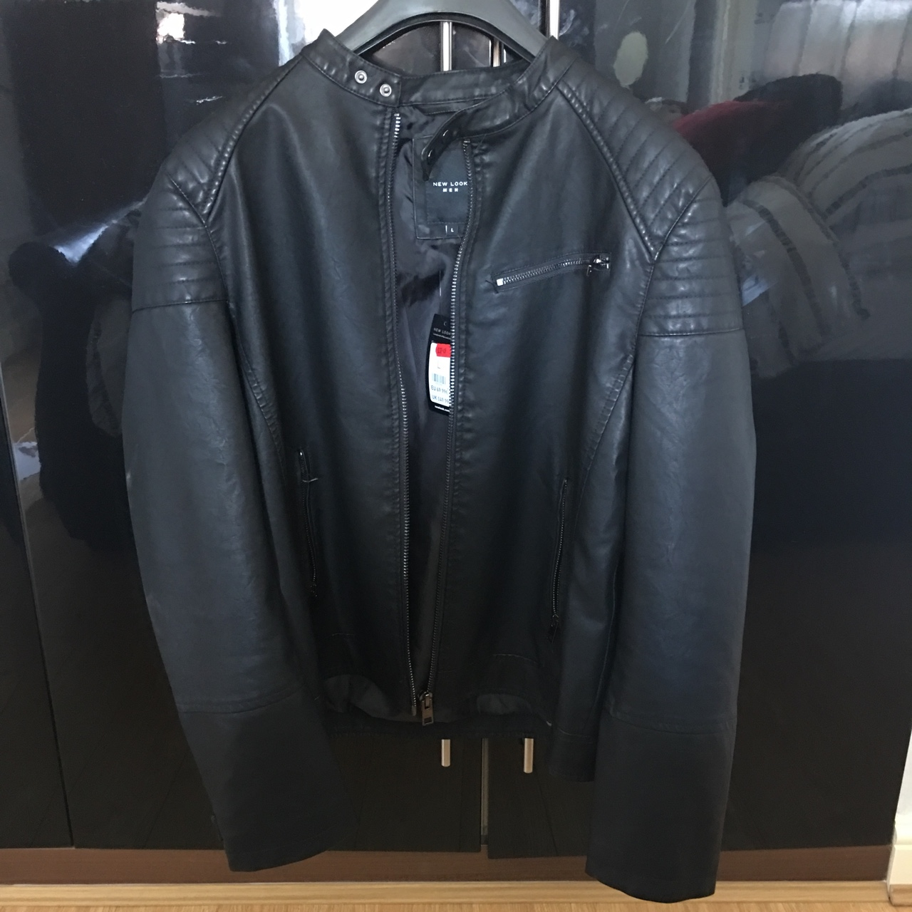 New Look Mens Leather Jacket Not Been Used Great Depop