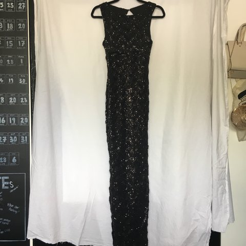 08dffbf471c JANE NORMAN Black Sequin Full Length Gown with Thigh Split a - Depop