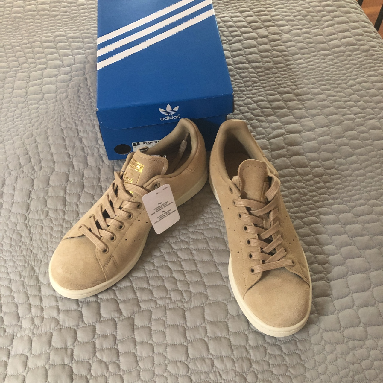cheap for discount 0d233 f8691 Adidas Stan Smith suede shoes in linen khaki! - Depop