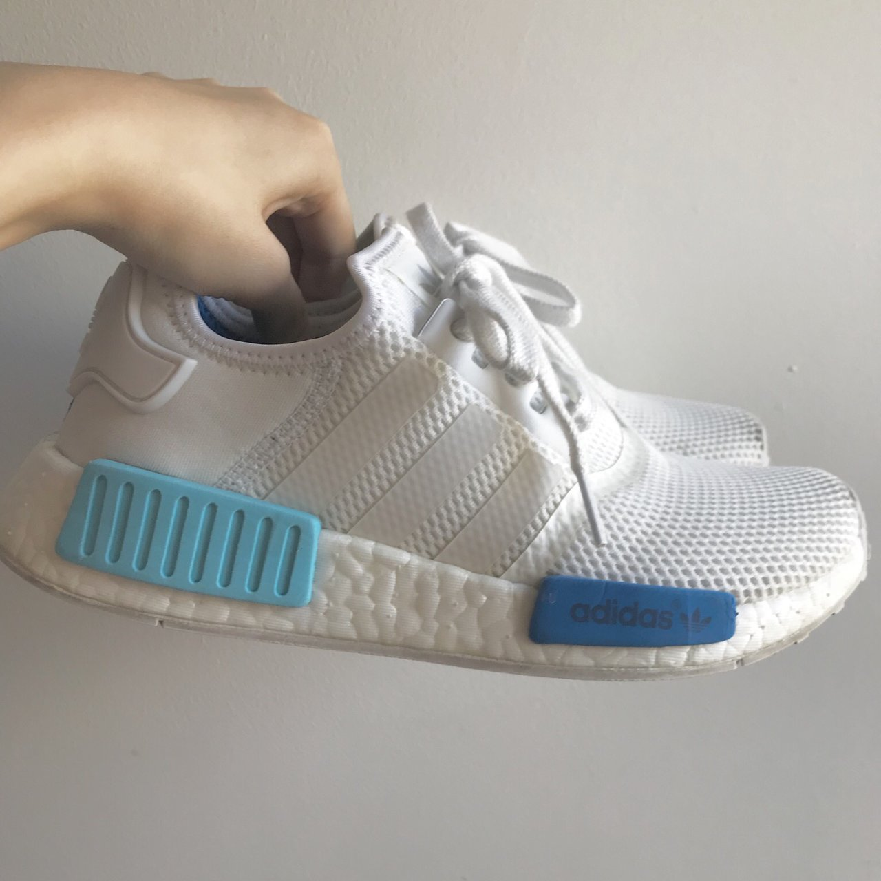 best website 5a430 ab52e Adidas nmd R1 original white sky blue. UK size 4.5. 100% are - Depop
