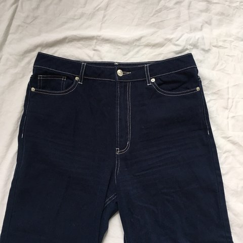 1a7facc89 90s NAVY JEANS WITH WHITE STITCHING -cropped and flare 10 - Depop