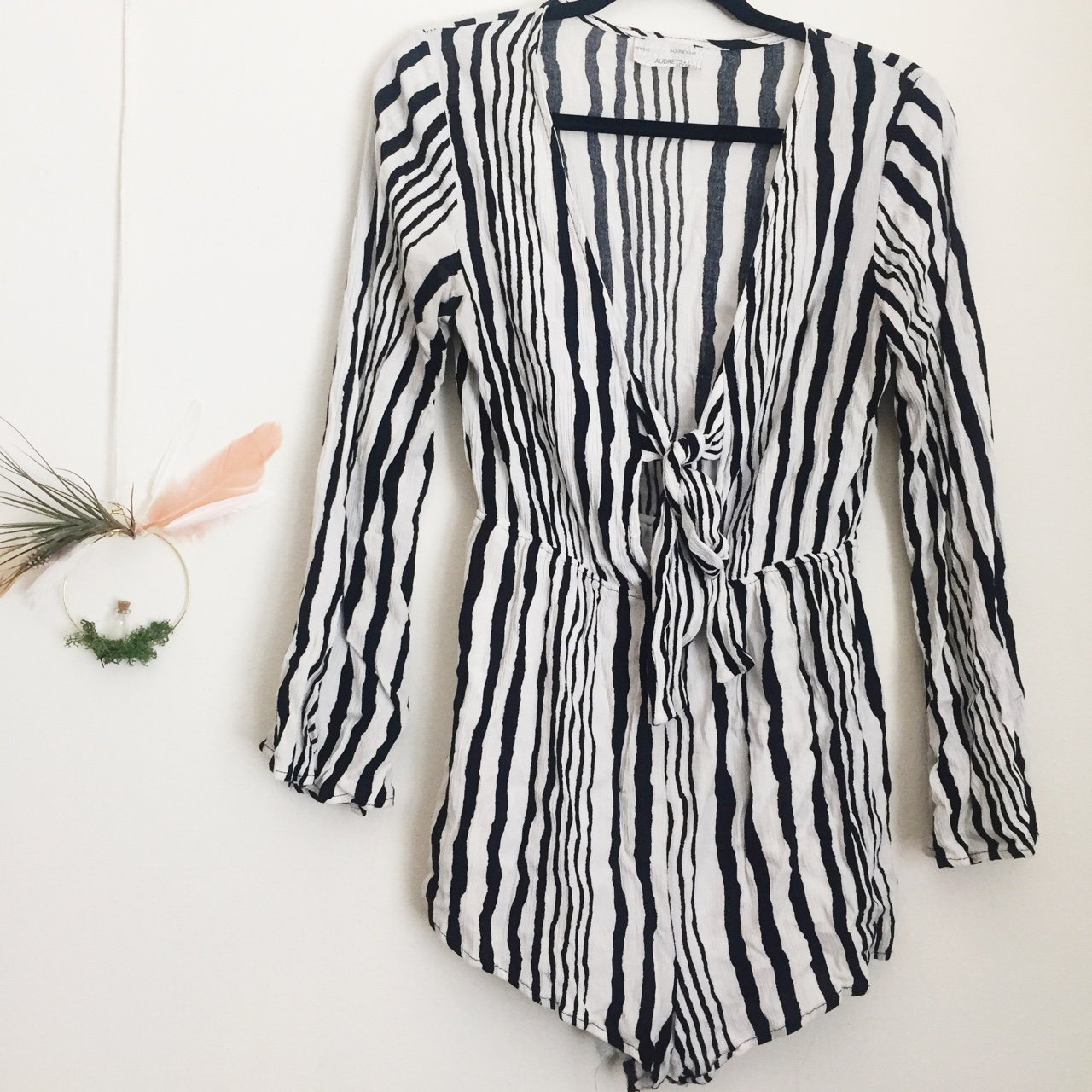 09d647251cd Adorable vertical abstract striped black and white romper in - Depop