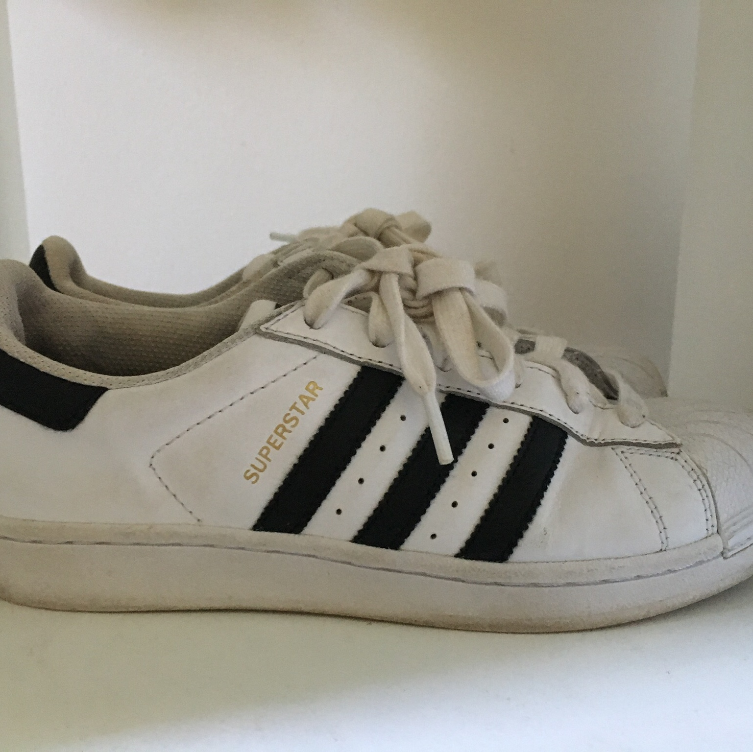 Adidas white and black superstar trainers size Depop
