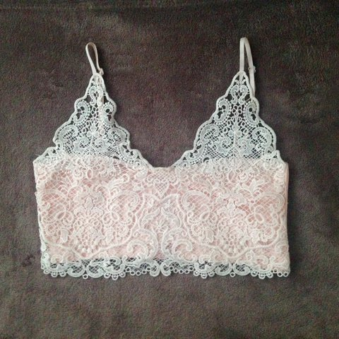 1e3221be73ce1 Cute baby pink bralet SIZE M would fit UK 6   8 . Has Hardly - Depop