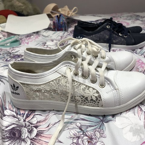 on sale d865d d69d5  vickilucyx. last year. Cranleigh, United Kingdom. Adidas white lace  trainers.