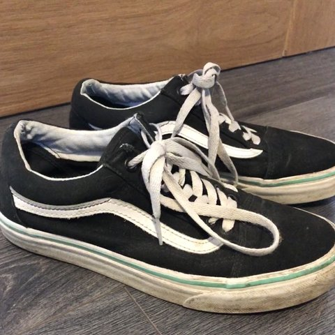 0b1043e4e6b Size 6 black and white old skool vans with turquoise  green - Depop