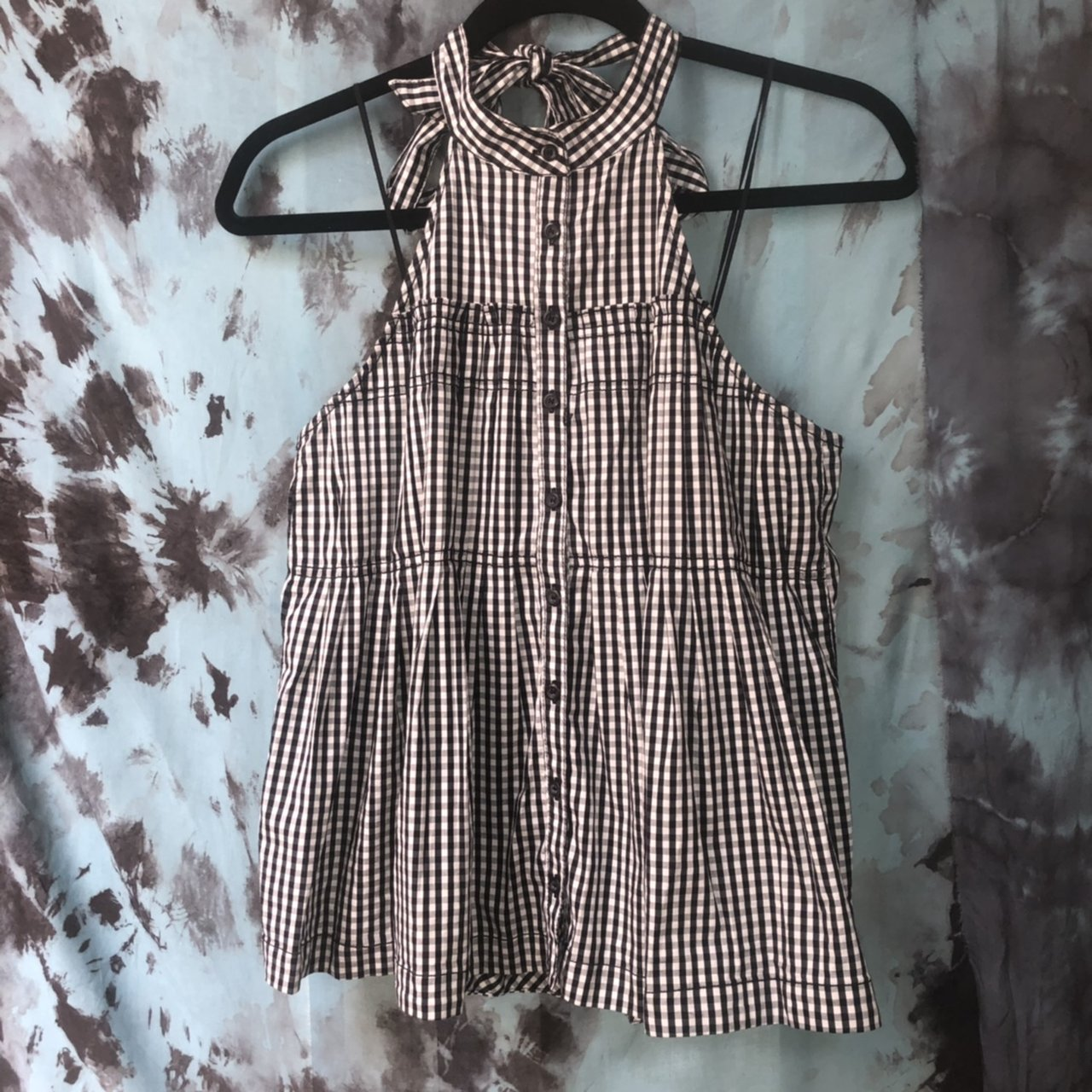 996d5e4b97e Free People halter gingham tank 🖤 Size Small, elastic at a - Depop