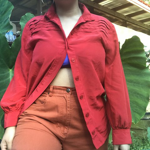 Vintage Cherry Red Button Down Beautiful Color Very Depop