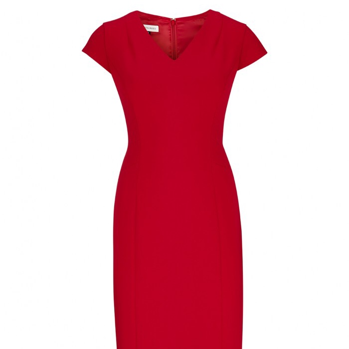 Austin Reed Red Size Uk 6 Bodycon Work Dress Knee Depop