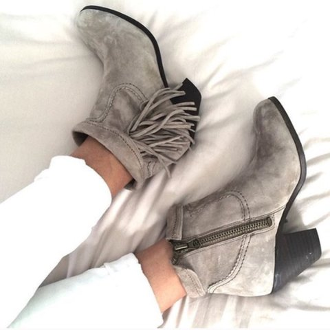 78c0540a044ac0 Sam Edelman Louie Fringe Booties in gray. Celeb and blogger - Depop